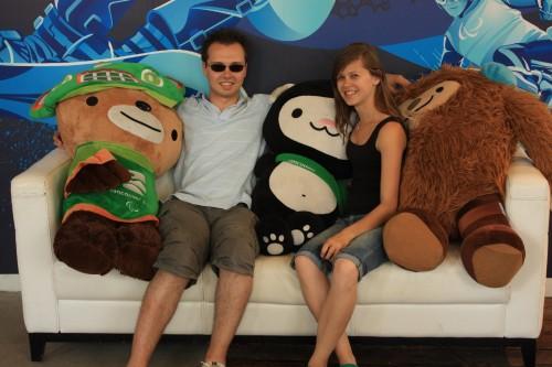 Op de foto met de Olympische mascottes