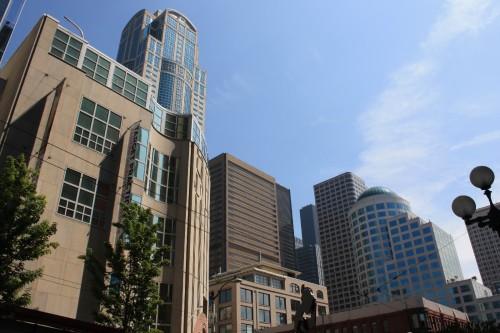 Een impressie van de wolkenkrabbers van Seattle